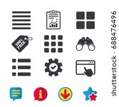 list menu icons. content view...