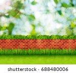 garden background with brick... | Shutterstock . vector #688480006