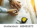 close up hand of engineering... | Shutterstock . vector #688481875