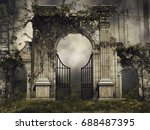 dark scenery with a gothic... | Shutterstock . vector #688487395