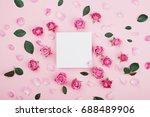 white frame blank  pink rose... | Shutterstock . vector #688489906