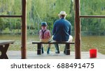 little boy and hid grandpa are... | Shutterstock . vector #688491475