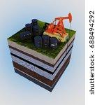 model of oil on the ground. 3d... | Shutterstock . vector #688494292