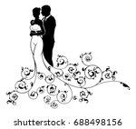 wedding couple bride and groom... | Shutterstock .eps vector #688498156