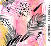 watercolor tropical leaves... | Shutterstock . vector #688500712