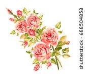 watercolor pink roses. vintage...   Shutterstock . vector #688504858