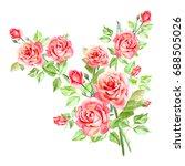 watercolor pink roses. bouquet... | Shutterstock . vector #688505026