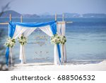 beach wedding ceremony with...   Shutterstock . vector #688506532