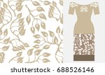 stylized damask ornament with... | Shutterstock .eps vector #688526146