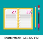 notebook with pen and pencil.... | Shutterstock .eps vector #688527142