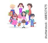 kids shopping conceptual banner.... | Shutterstock . vector #688527475