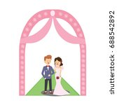 the bride and the groom at... | Shutterstock .eps vector #688542892