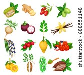 vector superfood icons set.... | Shutterstock .eps vector #688551148