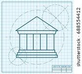 vector blueprint building icon... | Shutterstock .eps vector #688554412