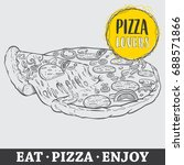 pizza vector illustration  hand ... | Shutterstock .eps vector #688571866