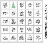 set of 25 hand lettering... | Shutterstock .eps vector #688576672
