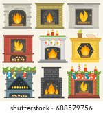 vector fireplace isolated house ... | Shutterstock .eps vector #688579756