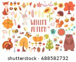 Stock vector big set of cute autumn animals birds insects plants and sweets fall season stickers and clip 688582732