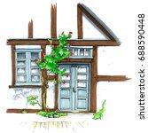 urban sketch of old germany... | Shutterstock . vector #688590448