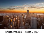 manhattan sunset - stock photo