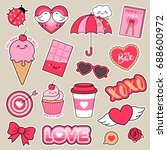 set of girl fashion patches ... | Shutterstock .eps vector #688600972