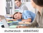 fatigued employee sleeping on a ... | Shutterstock . vector #688605682