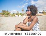 pretty afro american woman... | Shutterstock . vector #688606402