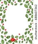 framed holly isolated on white...   Shutterstock .eps vector #688607362