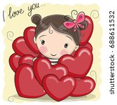 valentine card with cute... | Shutterstock .eps vector #688611532