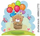 cute teddy bear in the box is... | Shutterstock .eps vector #688611772
