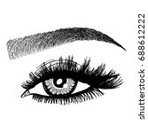 illustration with woman's eye... | Shutterstock .eps vector #688612222