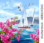 seascape. sea  yachts ... | Shutterstock .eps vector #688614262