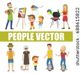 people vector with various... | Shutterstock .eps vector #688615822