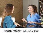 happy dentist or nurse... | Shutterstock . vector #688619152