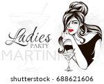 retro black and white fashion... | Shutterstock .eps vector #688621606
