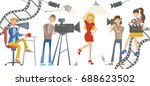 shooting a movie or a tv show.... | Shutterstock .eps vector #688623502