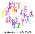 people jumping hurray team  | Shutterstock .eps vector #688623688