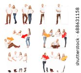 group of teenagers with a blank ... | Shutterstock . vector #688631158