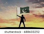 male silhouette figure waving... | Shutterstock . vector #688633252