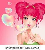 vector illustration of the girl ... | Shutterstock .eps vector #68863915