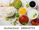 selection of different sauces... | Shutterstock . vector #688643752