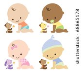 Vector illustration of baby boys and baby girl with cute teddy bears.