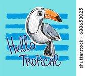 Stock vector toucan vector illustration children print on t shirt tropical illustration 688653025