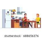 two girls eating lunch  ... | Shutterstock .eps vector #688656376