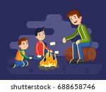 dad with sons on a campaign in... | Shutterstock .eps vector #688658746
