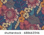 vector seamless pattern with... | Shutterstock .eps vector #688663546
