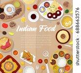 indian cuisine menu template... | Shutterstock .eps vector #688663576