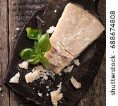pieces of parmigiano reggiano... | Shutterstock . vector #688674808