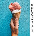 ice cream cone on a blue... | Shutterstock . vector #688677232