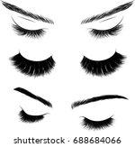 hand  drawn set of eyelash and... | Shutterstock .eps vector #688684066